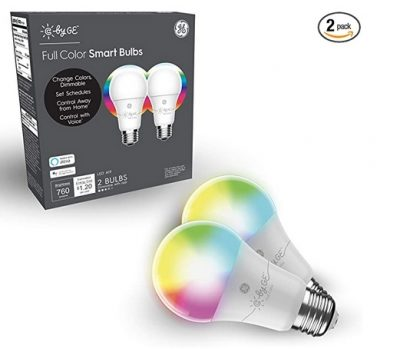 C by GE A19 LED Smart Light Bulb - Full Color Changing Light Bulb, 2-Pack, LED Party Lights, LED Lights for Bedroom, Works with Amazon Alexa and Google Home, Bluetooth Light Bulb